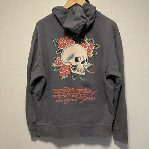 ED HARDY by Christian Audigier Eagle Hoodie Full-Zip Size L Vintage Rare Gray
