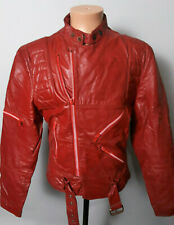 VINTAGE WILSONS GENUINE RED LEATHER CAFE RACER MOTORCYCLE JACKET MENS 42