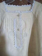 Antique Night dress Chemise Shirt Crochet Embroidery  Home Spun Linen Hand woven