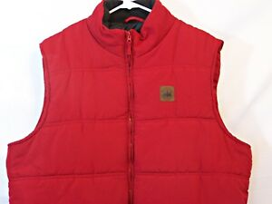 Field and Stream Mens Hunting Vest Size XL Red Insulated Quilted Zip Front