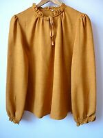 New Womens Ex TU Mustard Frill High Neck Tie Front Long Sleeve Blouse Size 8-22
