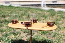 Style contemporain portable bambou 4 verre vin titulaire et snack service table