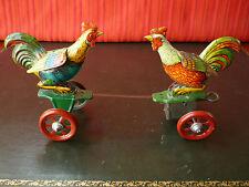 Rare 1920's Einfalt Technofix Tin Wind-up Fighting Roosters Chicken Tug of War