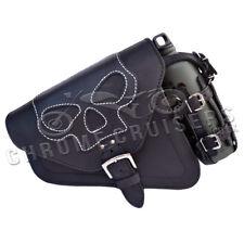 Harley-Davidson Sportster pelle Nera Sinistra Singolo Saddlebag Teschio+1l