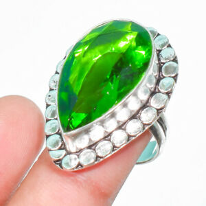 Dominican Peridot Gemstone 925 Sterling Silver Jewelry Ring Size- 7.5