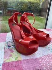 Rare Melissa High RED Wedge EU Size 38 UK 5 Peep Toe Smart Women Shoes Burlesque