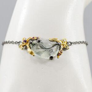 Jewelry Design Handmade Aquamarine Bracelet Silver 925 Sterling  Size  /BR05035