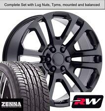"20 x9"" Wheels and Tires for Chevy Silverado 1500 Replica CK158 Gloss Black Rims"