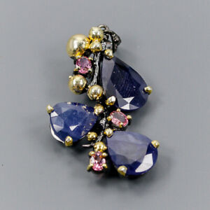Blue Sapphire Pendant Silver 925 Sterling Handmade /NP11583