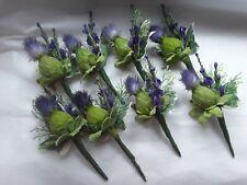 8 rustic Scottish style wedding/purple thistle heather/buttonholes
