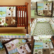 7PCS Baby Bedding Bed Crib Cot Set Nursery Quilt+ 4 Bumper + Dust Ruffle + Cover