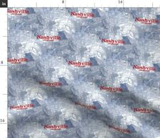 Nashville Map Tennessee Tricolor Lonely Angel Spoonflower Fabric by the Yard