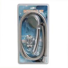 Long Flexible Hose Handheld Bath Water Sprayer Shower Head Bracket Set Silver GR
