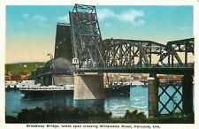Portland Oregon~Broadway Bascule Bridge Up~Ship Below~Willamette River~1920s