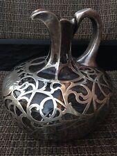 """Antique Alvin Art Nouveau Sterling Silver Overlay Cast Glass Decanter 6,5""""H"""