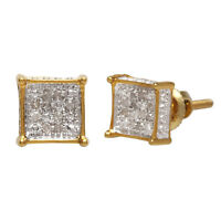 10k Solid Yellow Gold 0.06 Ct Round Cut White Natural Diamond Stud Earrings 6 mm