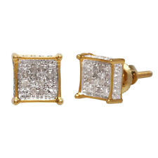 White Natural Diamond Stud Earrings 6 mm 10k Solid Yellow Gold 0.06 Ct Round Cut