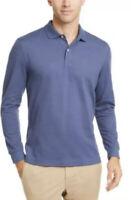 Club Room Men's Long-Sleeve Heathered Polo Shirt, Mid Blue Heather Medium