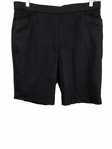 Susan Graver Women's Pull-on Ultra Stretch Bermuda Shorts Solid Black 18W Size