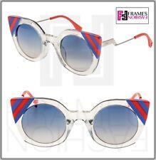 4d6f2798172 Fendi FF 0240 1ed Waves Green Crystal Plastic Cat-eye Sunglasses Blue  Gradient