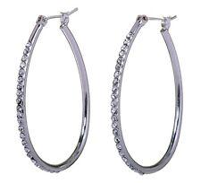 """Swarovski Elements Crystal 1 1/2"""" Summerset Hoop Pierced Earrings Rhodium 7231w"""