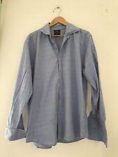 Mens Shirt Hawk 17 Inch Blue Long Sleeve Formal  <JJ10495