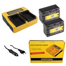 2x Batteria Patona + caricabatteria rapido DUAL LCD per Panasonic SDR-H85K