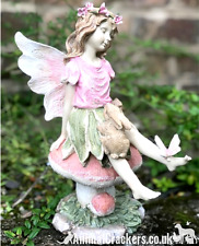 27cm Fairy Pink toadstool with rabbit and butterfly garden ornament decoration