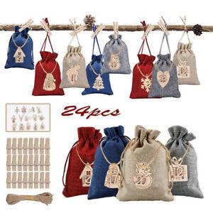 Christmas Advent Calendar Bags 24 Days Pendant 1-24 Wooden Listing Label Decors