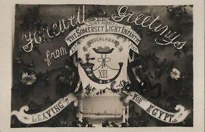 Military Patriotic greetings card Somerset Light Infantry leaving for Egypt