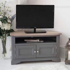 Faversham Corner TV Cabinet In Dove Grey And Light  Oak