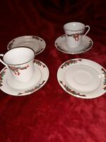 FINE CHINA Christmas CUP SAUCER POINSETTIA and & RIBBONS 4 cups and 4 saucers