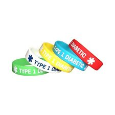 5 pcs KIDS SIZE Type 1 Diabetes Medical Silicone Bracelets Diabetic