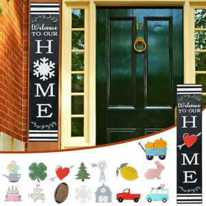 Welcome Sign Front Door Hanger with 15 Shapes Interchangeable Leaner for Home