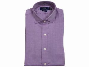 Ralph Lauren Polo Mens Spread Collar Slim Easy Care Dress Shirt Solid Purple
