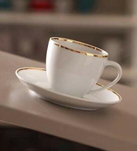 White Bone China Dotted Tea Coffee Cups Saucer Set ,9 x 5 x 9 Centimeter,12 Pcs