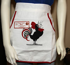 Retro Vintage Style Restaurant Apron -READY ROOSTER- White w/Red Trim