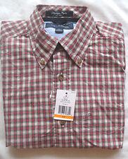 Men's Tommy Hilfiger Plaid Button Shirt Size S Heritage Poplin Black, Red, White