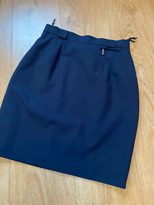 VINTAGE MINI PENCIL SKIRT SIZE 8 W26 NAVY BLUE HIGH-WAISTED FULLY LINED (sk42)