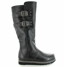 Ella Shoes Cherry Tall Faux Leather Vegan Knee High Buckle Boots Black UK 3-8