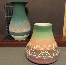 """American Sioux pottery vases lot 2 10"""" & 7"""" 70-80's both signed on bottom"""