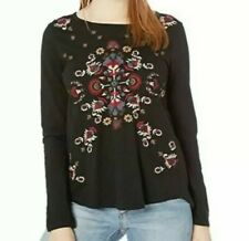 LUCKY BRAND Women's Top S Long Sleeve Black knit Cotton Embroidered Sheer Back