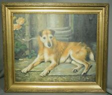 Vintage Dog Painting Portrait Irish Terrier Carved Gilt Art Crafts Picture Frame