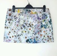 BNWT RIVER ISLAND LADIES FLORAL MINI SKIRT PINK FULLY LINED SIZE 16  RRP £25.00