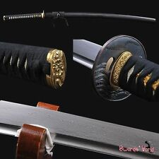 COOL BLACK Japanese samurai katana sword folded steel Battle ready  real sharp