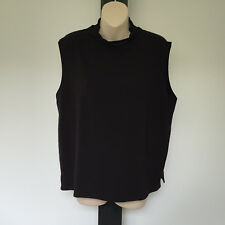'MELA PURDIE' EC SIZE '18' BROWN SLEEVELESS SILKY TOP WITH LOOSE ROLLED NECKLINE