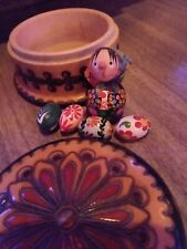 Russian Babushka wooden box hand painted  with 4 Easter Eggs old 1979