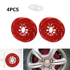 "4xCar Red Wheel Brake Disc Cover Decorative Rotor Cross Drilled For  14""Vehicles"