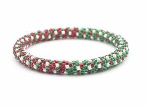 "Sashka Co EXTENDED 8"" CHRISTMAS TREE Glass Bead BRACELET red white green Jewelry"