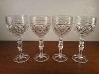 4 The European Collection Diamond Pattern Wine Glasses Goblets 6.5""